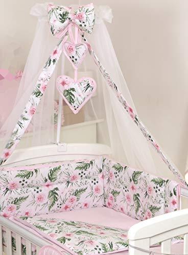 PRO COSMO 11 Piezas juego de ropa de cama para cuna de bebé cama edredón, dosel + soporte (120x60cm, Rose Garden/Pink) Rosas Flores Jardín