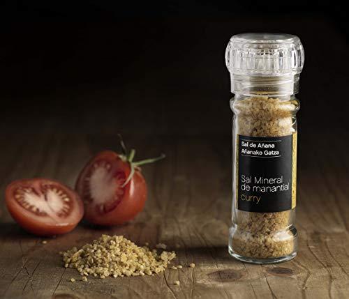 Molinillo Sal Mineral de Manatial con Curry, 75 gr. SAL DE AÑANA