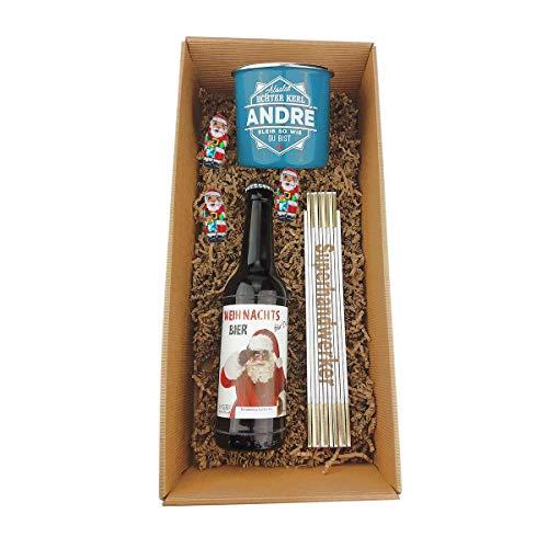3-teilige Geschenkbox/X-MAS/Bier/Becher/Handwerker/Zollstock/Weihnachten/Papa/Mann/Nikolaus, Emaile-Becher:Simon