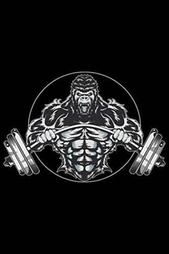 Gorilla biegt Langhantel für Muskel Sport Kraftsport: DIN A5 Doted Gepunktet 120 Seiten / 60 Blätter Notizbuch Notizheft Notiz-Block Fitness Gym Workout Training Fitnessstudio Motive