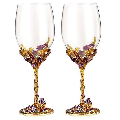 ABOOFAN 2 copas de vino decoradas con iris para boda, copas de vino esmaltadas (dorado)