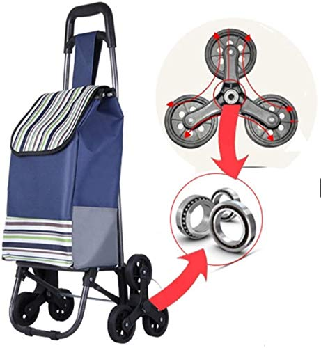 Large Foldaway 6 Wheel 50L Shopping Trolley with Stair Climbing and Waterproof Function Folding Grocery Cart Easy to Use Great for Mobility, Blue Stripes