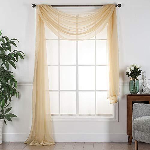 "Decotex Sheer Voile Transparent Window or Event Decor Scarf Valance - Various Sizes & Colors (54"" W x 216"" L, Gold)"