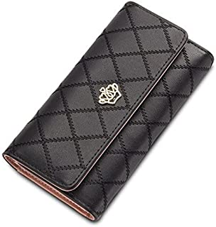 Women's Fashionable Metal Crown Style PU Leather RFID Blocking Clutch Wallet