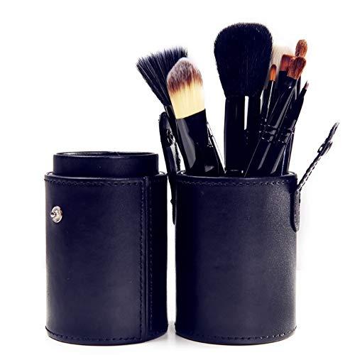 Ensemble de brosse de maquillage, 12 cylindre brosse de maquillage avec Fondation Eye Shadow Box sourcil crayon eyeliner Blush Poudre correcteur de réparation,black