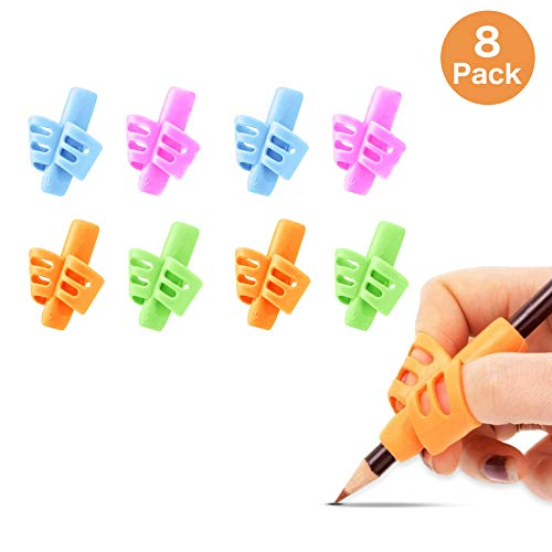 Pencil Grips for Kids Handwriting, 8-Pack, Kids Pencils Grip, Pencil Holder for Kids & Toddlers or Adults, School & Preschool, Learning to Write, Training Writing, Finger Grips, Right & Left-Handed