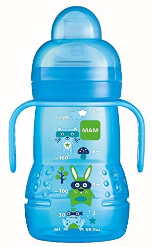 MAM Trainer+ 220ml - Babyflasche und Becher 2-in-1 (4+ Monate - Farbe: Blau)