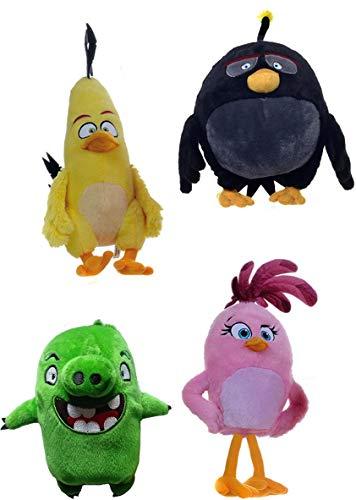 Angry Birds 4 Peluches Felpa 20cm Chuck Bomb Pig Stella Original Rovio