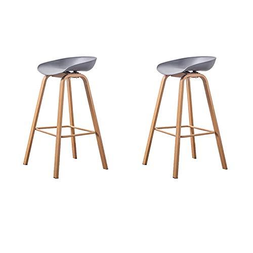 N/A Conjunto de 2 taburetes de Bar Modernos y cómodos sin reposabrazos Taburete de Bar Silla Taburete de Bar de Cocina para hogar y Cocina (Gris)