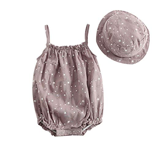 Fine Baby Girls Sleeveless Onesies Tank Top Cotton Baby Print Bodysuit Pack of Baby Sleeveless Sling Star Print One Piece (Gray, 90)