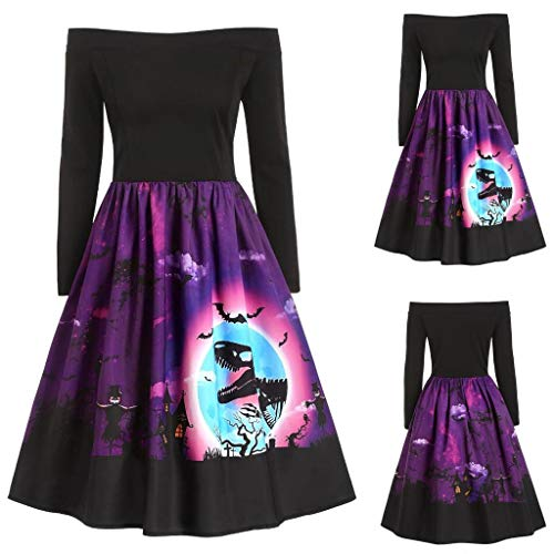 New Women Halloween Vintage Dress | Long Sleeve Off-Shoulder Swing Dresses Printed Cocktail Party A-...