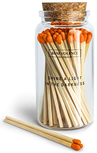 Decorative Matches, Long Matches for Candles in Apothecary Glass Jar, Matches Long Wooden, Safety Matches, Wooden Matches, Long Stick Matches, Fluorescent Orange | Set of 80 Matchsticks