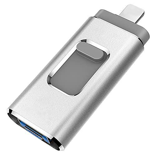 YOHU 256GB Pendrive para iPhone Photo Stick Memoria USB para iPhone y iPad Android Laptops Flash Drive Expansión (Plata)