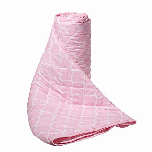 ZZZNEST Coperta Ponderata, Sollievo da Stress e Ansia, Effetto Calmante per Dormire Bene, 100% Cotone con Perle di Vetro Premium (Rosa, 150 x 200 cm -7.2kg)