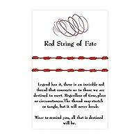 ハンドメイド 7ノット レッドコード 編組ストリングブレスレット レディース ガールズ メンズ 手編み 調節可能 幸運のお守り ロープコード 結び目 ブレスレット 友情ジュエリー