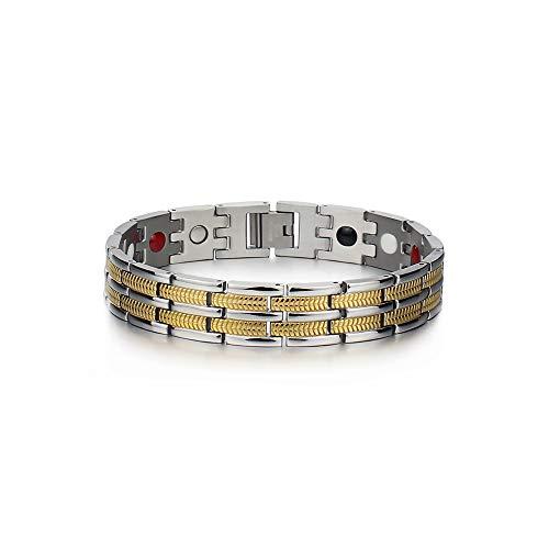 WOGQX Herren Elegantes Gesundes Magnetarmband 13Mm Titan Stahl 4 Elemente Einreihiges Magnetarmband Linderung Von Müden Gelenkschmerzen Mode Magnetfeldtherapie Armband Mit Atemregler