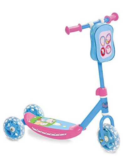 Peppa Pig 3-Rad Tretroller | Stabiler Kick Scooter mit Lenkertasche für Kinder ab 3 Jahren