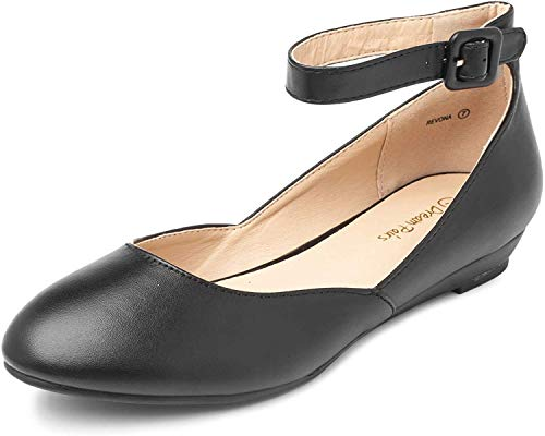DREAM PAIRS Women's Revona Black Pu Low Wedge Ankle Strap Flats Shoes - 8 B(M) US