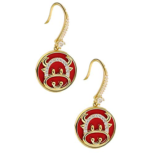 Holibanna Rhinestone Dangle Earrings Year Of Ox Earrings Cow Earrings Women Red Vintage Ear Jewelry For New Year Spring Festival Valentines Day Birthday Gifts Red