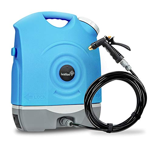 Ivation Multipurpose Portable Spray Washer w/Water Tank – Built in Rechargeable 2200 mAh Lithium Battery and 12v Car Plug - Metal Trigger Guns, Shower & Brush Heads and Flexible Hose