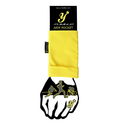 Y-Fumble Flexible Arm Band Pocket / Pouch for Personal Items: Store your Phone, MP3 Music Player, Keys, Coins, SPI. Running, Cycling, Training (Yellow, Medium)