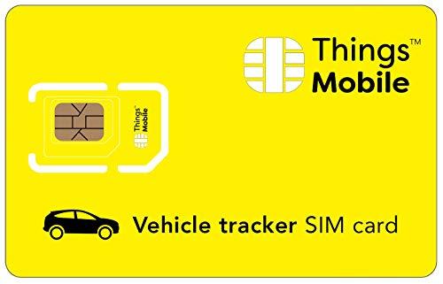 DATEN-SIM-Karte für GPS TRACKER für AUTOS - Things Mobile - mit weltweiter Netzabdeckung und Mehrfachanbieternetz GSM/2G/3G/4G. Ohne Fixkosten und ohne Verfallsdatum. 10 € Guthaben inklusive