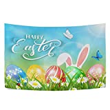 Qilmy Easter Eggs Wall Hanging Tapestry Hippie Art Tapestry Wall Blanket for Home Bedroom Living Room Decor 90 x 60 Inch