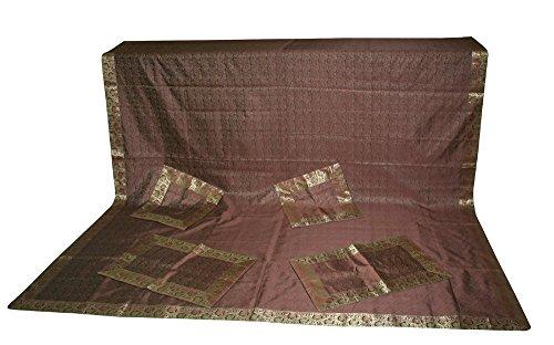 silkroude indischen handgefertigt Brokat Seide bestickt Tagesdecke Mit Kissen und Kissenbezüge 223,5x 266,7cm
