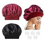 2 gorras de noche suaves para mujer, dormir de noche, sombreros de satén sueltos y ajustados, con 5 tapas de ducha transparentes desechables de plástico.