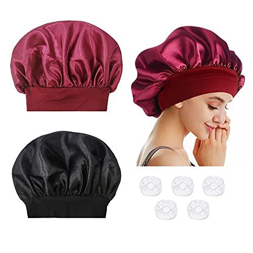 2 morbidi berretti da notte per donna, sonno notturno, morbidi e stretti in raso, con 5 tappi da doccia trasparenti monouso in plastica.