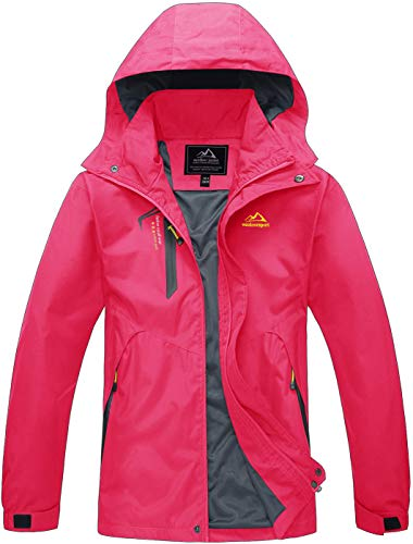 TACVASEN Outdoorjacke Damen Wasserdicht Bergjacke Camping Angeln Jagd Parka-Jacke Atmungsaktive Women Ski Jacke Winter Sports Windjacke Waterproof Mountain Hunting Breathable Jacket Coat Rose Rot