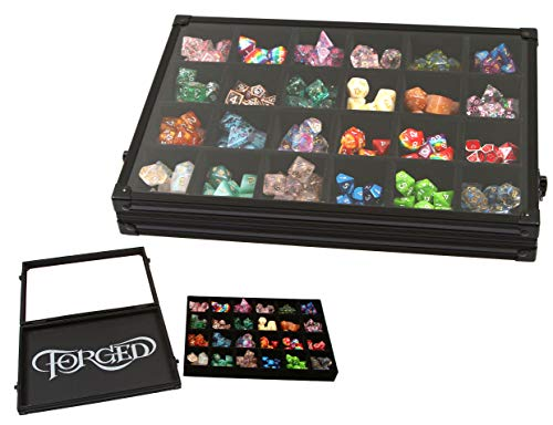 Forged Dice Co. Dice Display Case and Rolling Tray with Removable Divided Dice Tray - Storage Box Holds up to 240 Metal or Plastic Polyhedral Dice Sets - Great for Dice Collectors or RPG D&D Games