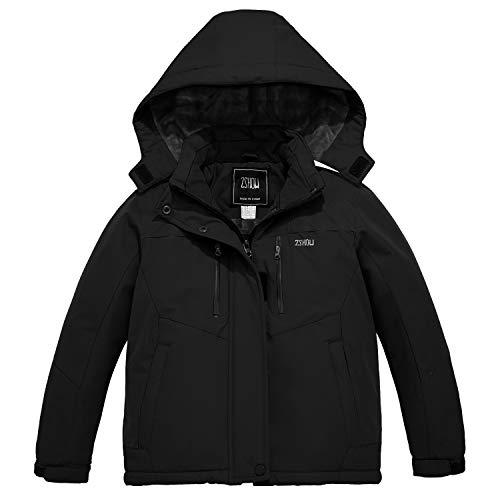 ZSHOW Girls' Waterproof Ski Jacket Windproof Fleece Hooded Winter Coat(Black,10/12)