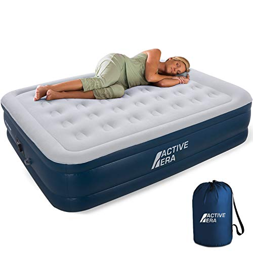 Active Era Queen Air Mattress with Built in Pump & Raised Pillow – Puncture Resistant with Waterproof Flocked Top, Elevated Inflatable Air Bed for Guests