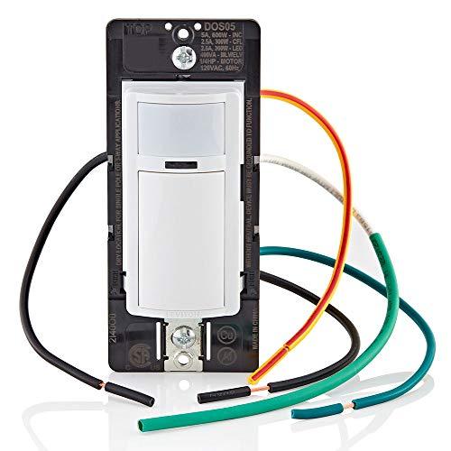 Leviton DOS05-1LZ Decora Motion Sensor In-Wall Switch, Auto-On, 5A, Single Pole or 3-Way, White/Ivory/Light Almond
