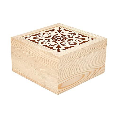 AHADERMAKER Caja de madera sin terminar con patrón de corazón hueco, caja de madera con ventana visual platano, caja de madera para boda, recepción, cumpleaños, baby shower, fiesta decorativa