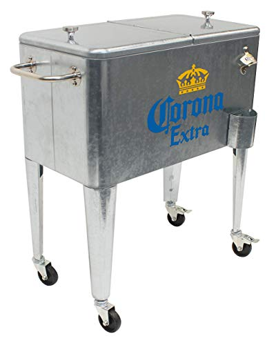 Leigh Country MC 47900 Galvanized Steel 60 Qt. Corona Rolling Cooler, Silver