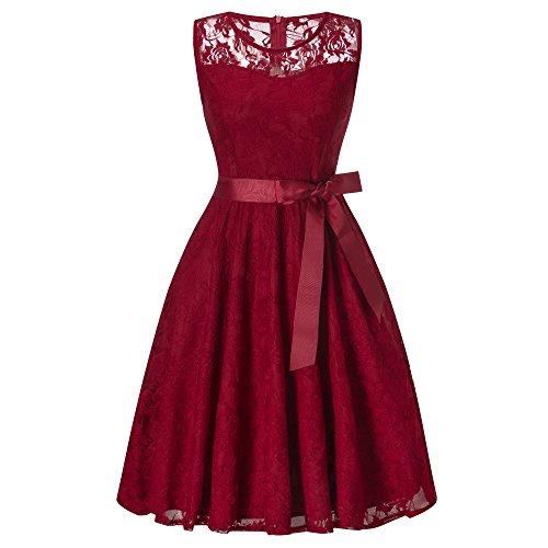 Vintage Vestito Mini Vestiti Donna Senza Maniche di Tulle Abito Eleganti Corti da Cermonia Pizzo Sera Rosso