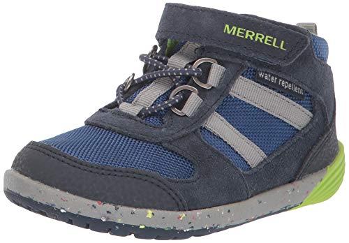 Merrell Kids' Unisex Bare Steps Ridge Jr Hiking Boot, Navy/Green, 04.5 M US Toddler