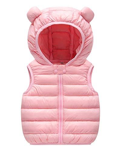 Chaleco de Plumas Niños Niñas Cálido Invierno Chaquetas Acolchado Sin Mangas Abrigo con Capucha