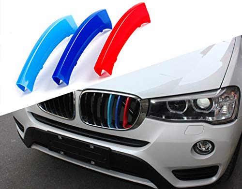 TOPGRIL M-Colored Stripe Grille Insert Trims M-Performance Sport Grille Insert Trim Strips For 2011-2017 BMW F25 X3 & 2014-2018 BMW F26 X4 Center Kidney Grill (7 Beams ONLY)