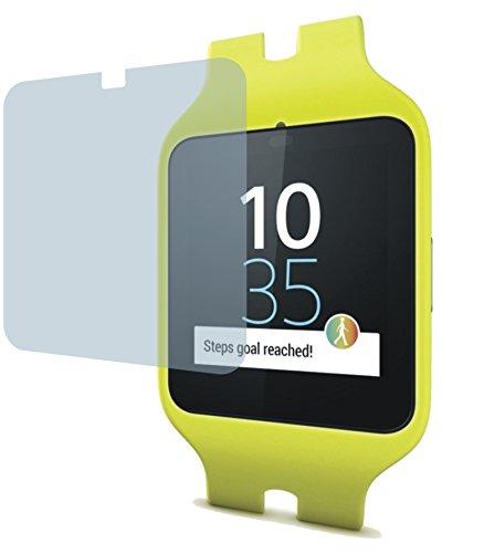 I 4x Crystal clear klar Schutzfolie für Sony SmartWatch 3 SWR50 Premium Bildschirmschutzfolie Displayschutzfolie Schutzhülle Bildschirmschutz Bildschirmfolie Folie. Die Folie ist bewußt kleiner als das Bildschirm, da dieses am Rand gewölbt ist