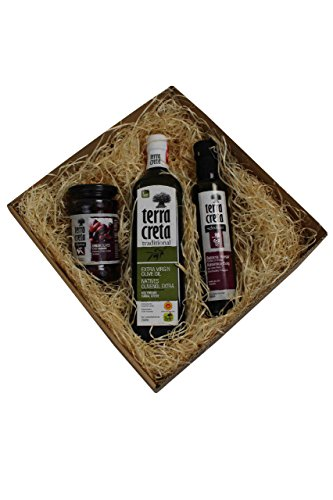 Terra Creta - Geschenk Set Kreta klein 1x 750 ml Olivenöl, 250 ml Balsamico Essig und 130 gr. Kalamata im Geschenkkarton Griechenland