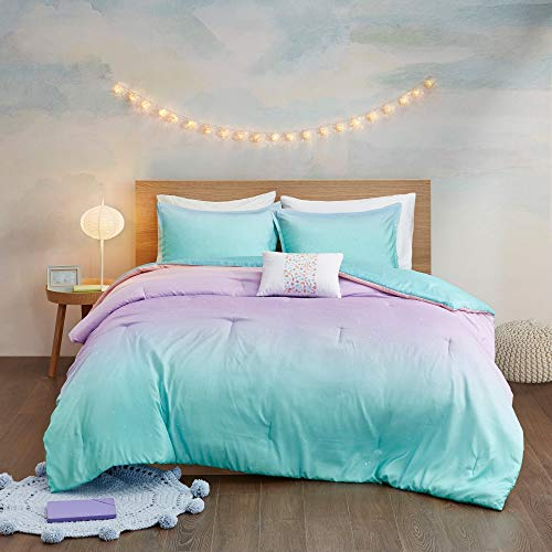 MISC 4 Piece Aqua Purple Ombre Comforter Full Queen Set, Blue Pink Glitter Rainbow Kids Bedding Teen Bedroom Abstract Pattern Whimsical Flair Metallic Sparkles Glitter Bright Colorful, Microfiber