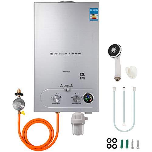 VEVOR Upgrade Typ 12L LPG Gas-Warmwasserbereiter ohne Tank mit Duschkopf Kit Wasserfilter & Gasregler(12L LPG)