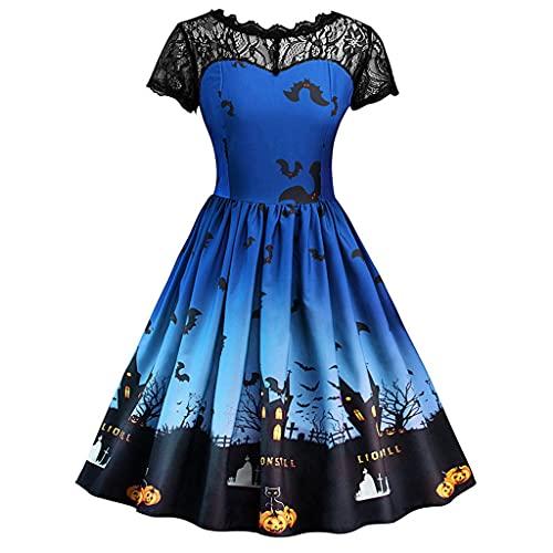 Halloween Kleid Damen Kürbis Druck Abendkleid A-Linie Partykleid Frauenkleid Spitzenkleid für Halloween Party Hingucker Festliche Kleider...