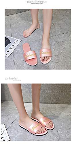 6P6 Deslizadores De Señoras del Bordado De Las Nuevas Zapatillas De Raso De Novia De Dama De Honor De Color Rojo Zapatillas Bata con La Mujeres De Los Zapatos,Rosado,35/36/37/38/39