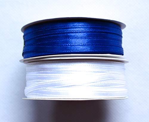 CaPiSo Cinta de raso de 100 m, 3 mm, para regalo, decoración, boda, Navidad (blanco y azul marino, 100 m 3 mm)
