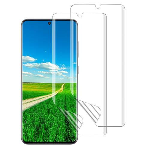 DASFOND Galaxy S20 Schutzfolie, [2 Stück] TPU Displayschutzfolie für Samsung S20, Vollständige Abdeckung, Fingerabdruck kompatibel, Kratzfest, Blasenfreie, Klar HD Weich TPU Folie für S20