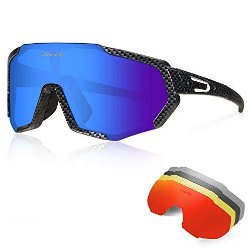 occhiali ciclismo Queshark Occhiali Ciclismo CE Autentica Polarizzati con 5 Lenti Intercambiabili Occhiali Bici Antivento e Antiappannamento Occhiali Sportivi da Sole Anti UV da Uomo Donna per Corsa